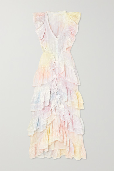 India Ruffled Lace Trimmed Tie Dyed Silk Dress by Love Shack Fancy