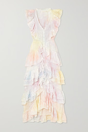 India ruffled lace-trimmed tie-dyed silk dress