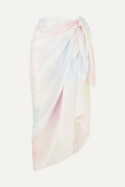 LoveShackFancy Noa tie-dyed silk-voile pareo