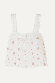 LoveShackFancy Daisy crochet-trimmed floral-print Swiss-dot cotton-gauze top