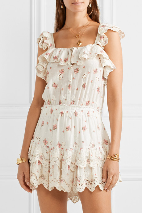 Marina embroidered floral-print broderie anglaise cotton-voile mini dress