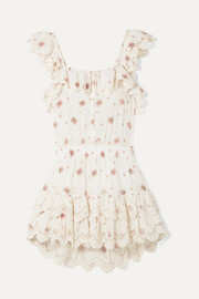 LoveShackFancy Marina embroidered floral-print broderie anglaise cotton-voile mini dress