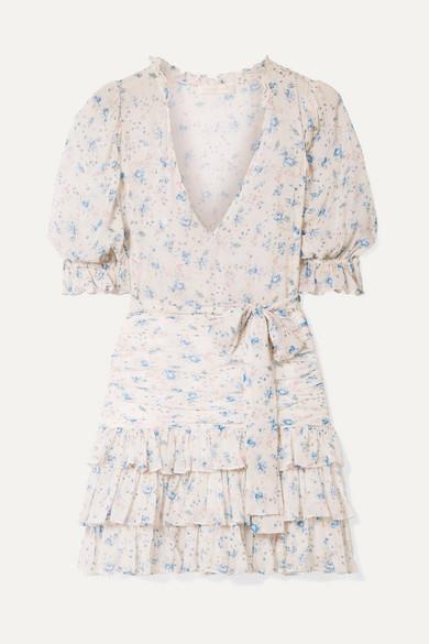 Hannah Ruffled Tiered Floral Print Silk Georgette Mini Dress by Love Shack Fancy