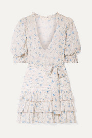 LoveShackFancy Hannah ruffled tiered floral-print silk-georgette mini dress