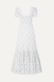 LoveShackFancy Ryan lace-trimmed printed cotton-voile maxi dress