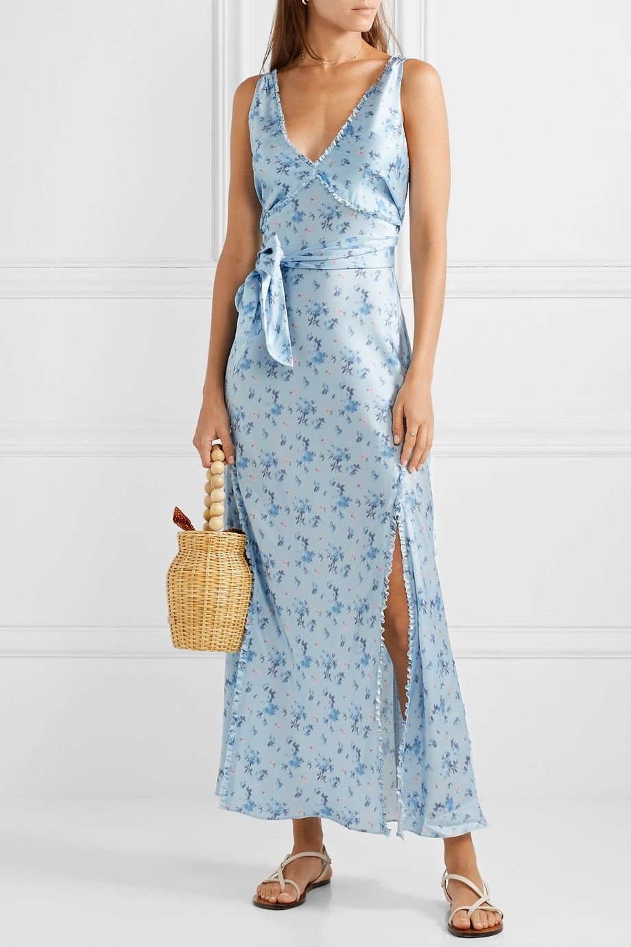 LoveShackFancy Kendall floral-print silk-satin maxi dress