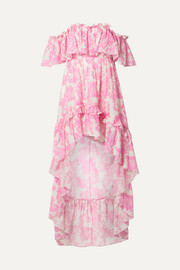 LoveShackFancy Alexia asymmetric ruffled floral-print cotton and silk-blend voile dress