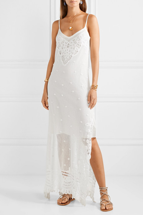 Bethan crocheted lace and embroidered cotton-mesh maxi dress