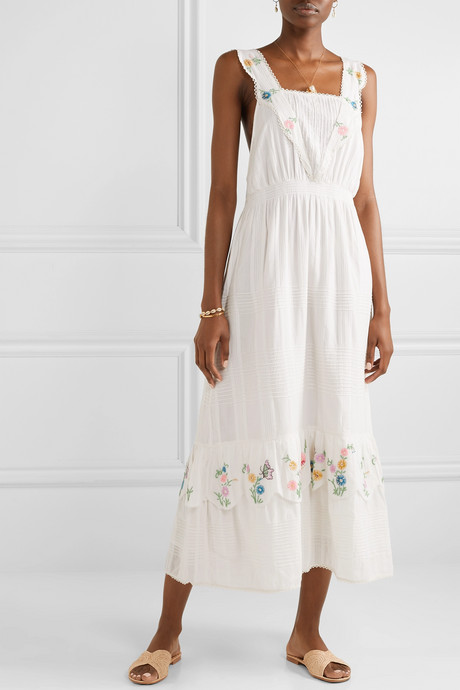 Aphrodite embroidered pintucked cotton-voile maxi dress