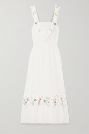 LoveShackFancy Aphrodite embroidered pintucked cotton-voile maxi dress