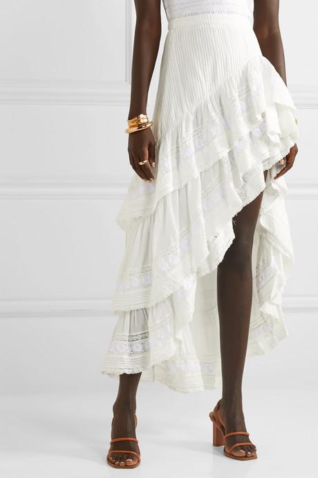 Lisette asymmetric ruffled crochet-trimmed cotton-voile skirt