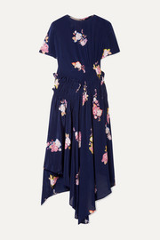 Verna asymmetric ruched floral-print crepe de chine dress