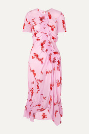 Serelida asymmetric ruffled floral-print crepe de chine dress