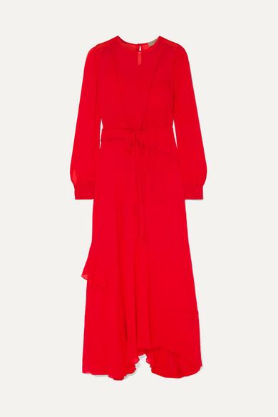 Brea Asymmetric Ruffled Lace Trimmed Georgette Maxi Dress by Preen Line