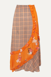 Preen Line Nevah ruffled paneled printed checked crepe de chine skirt