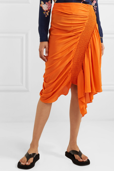 Rosa asymmetric shirred crepe de chine skirt