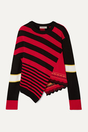Preen Line Asymmetric striped knitted sweater