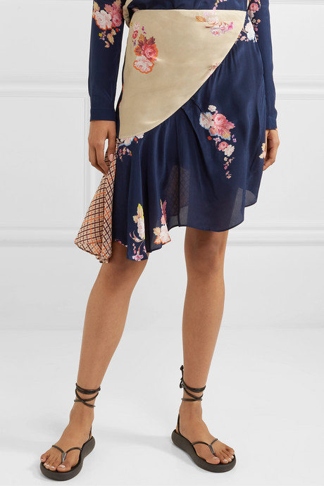 Izzy asymmetric paneled printed crepe de chine skirt