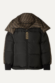 Reversible quilted printed shell down jacket
