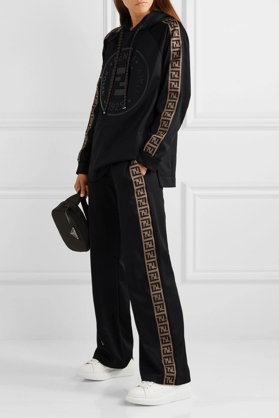 Fendi Fendirama printed jacquard-trimmed satin-jersey hoodie