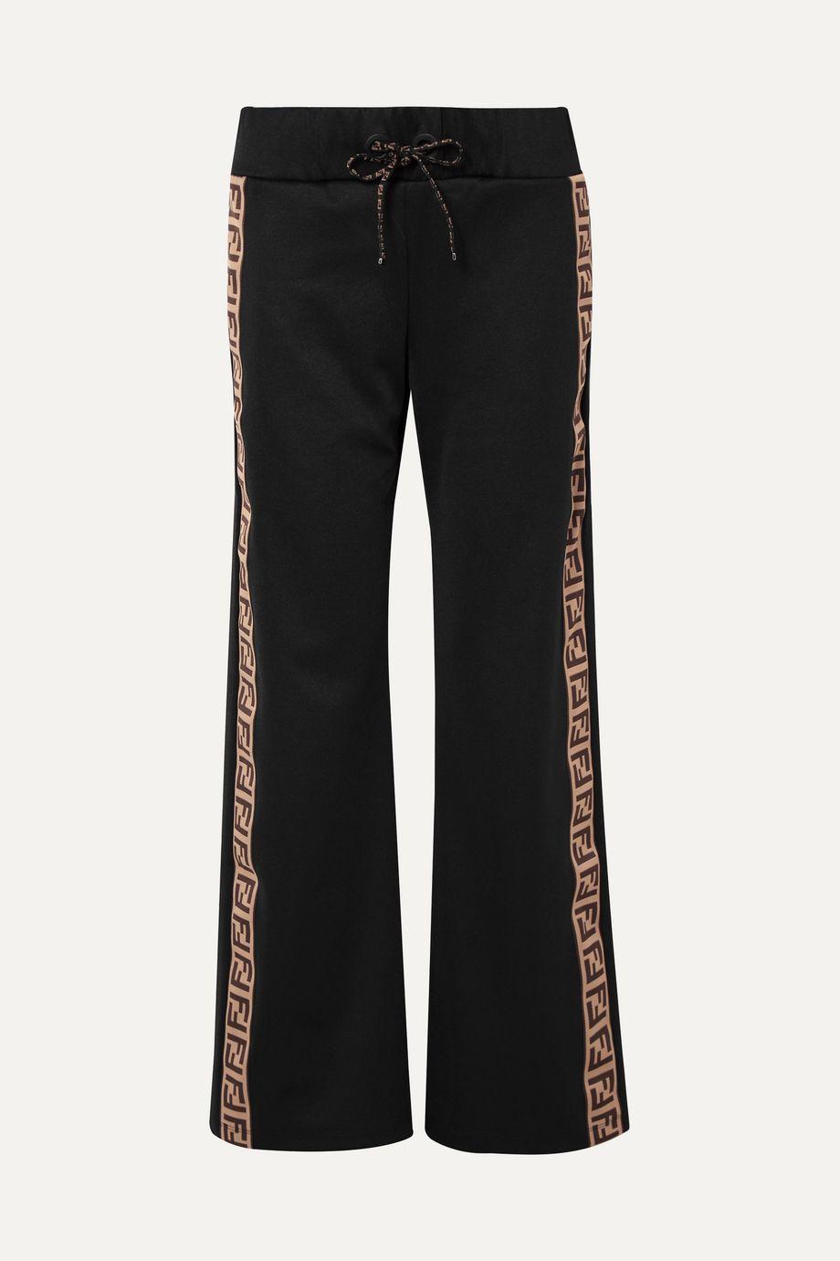 Fendi Fendirama jacquard-trimmed satin-jersey track pants