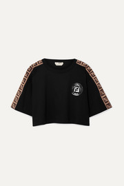 Fendi Fendirama cropped jacquard-trimmed cotton-jersey T-shirt