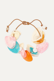 Pipi leather, resin and faux pearl bracelet