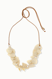 Pipi leather, resin and faux pearl necklace