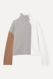 Loro Piana Color-block ribbed cashmere turtleneck sweater