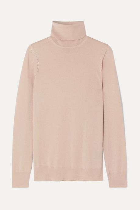 Beige Puma cashmere turtleneck sweater | Loro Piana G0vUiB