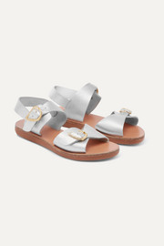 Little Irini iridescent leather sandals