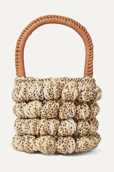 Agathe Leather Trimmed Crocheted Tote by Ulla Johnson