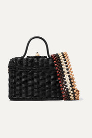 Ulla Johnson Priska leather-trimmed rattan tote