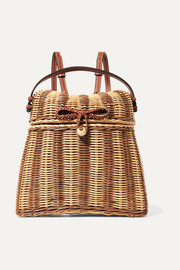 Ulla Johnson Taja leather-trimmed rattan backpack
