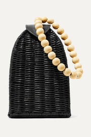 Ulla Johnson Raya leather-trimmed rattan clutch