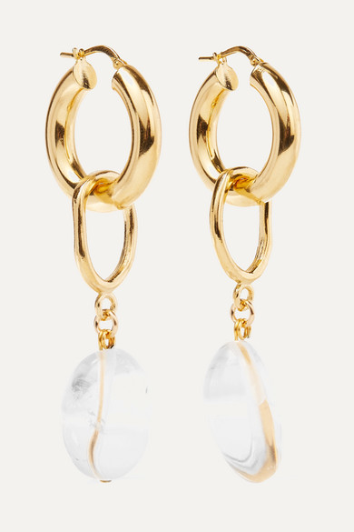 MOUNSER | Mounser - Found Objects Gold-Plated Glass Hoop Earrings - One Size | Goxip