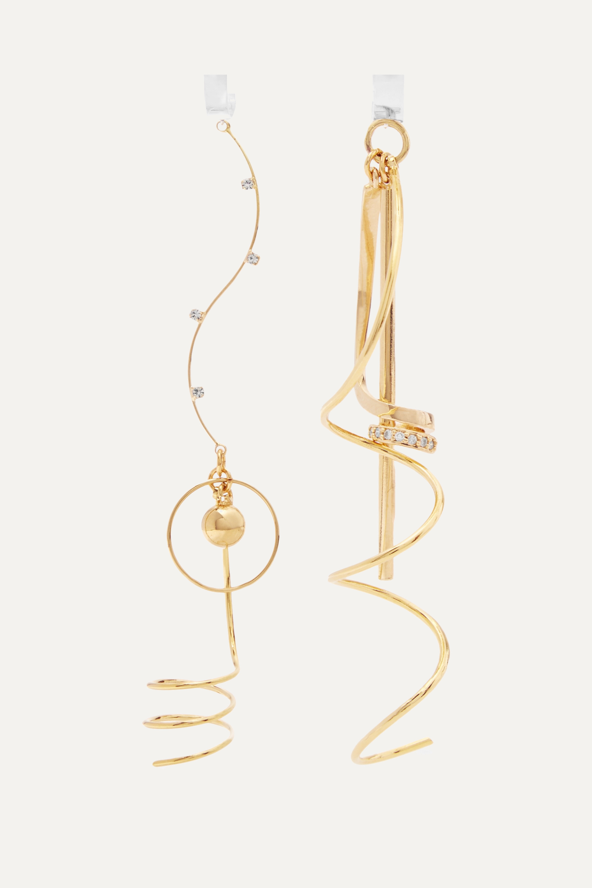 Mounser Corkscrew gold and rhodium-plated crystal earrings
