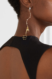 Corkscrew gold and rhodium-plated crystal earrings