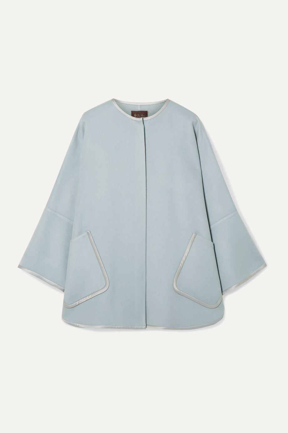 Loro Piana Silk satin-trimmed cashmere cape