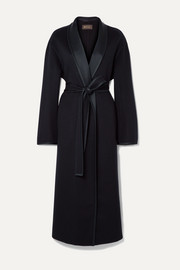Loro Piana Belted silk satin-trimmed cashmere coat