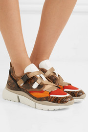 Sonnie canvas, mesh, suede and snake-effect leather sneakers