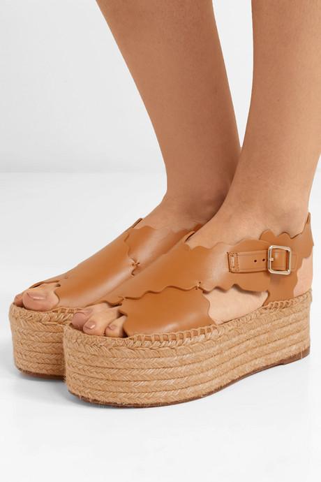 Lauren scalloped leather espadrille platform sandals