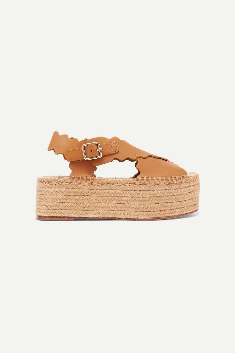 Chloé Lauren scalloped leather espadrille platform sandals