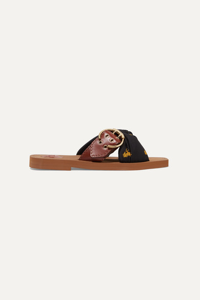 Woody Leather And Printed Satin Twill Slides by Chloé