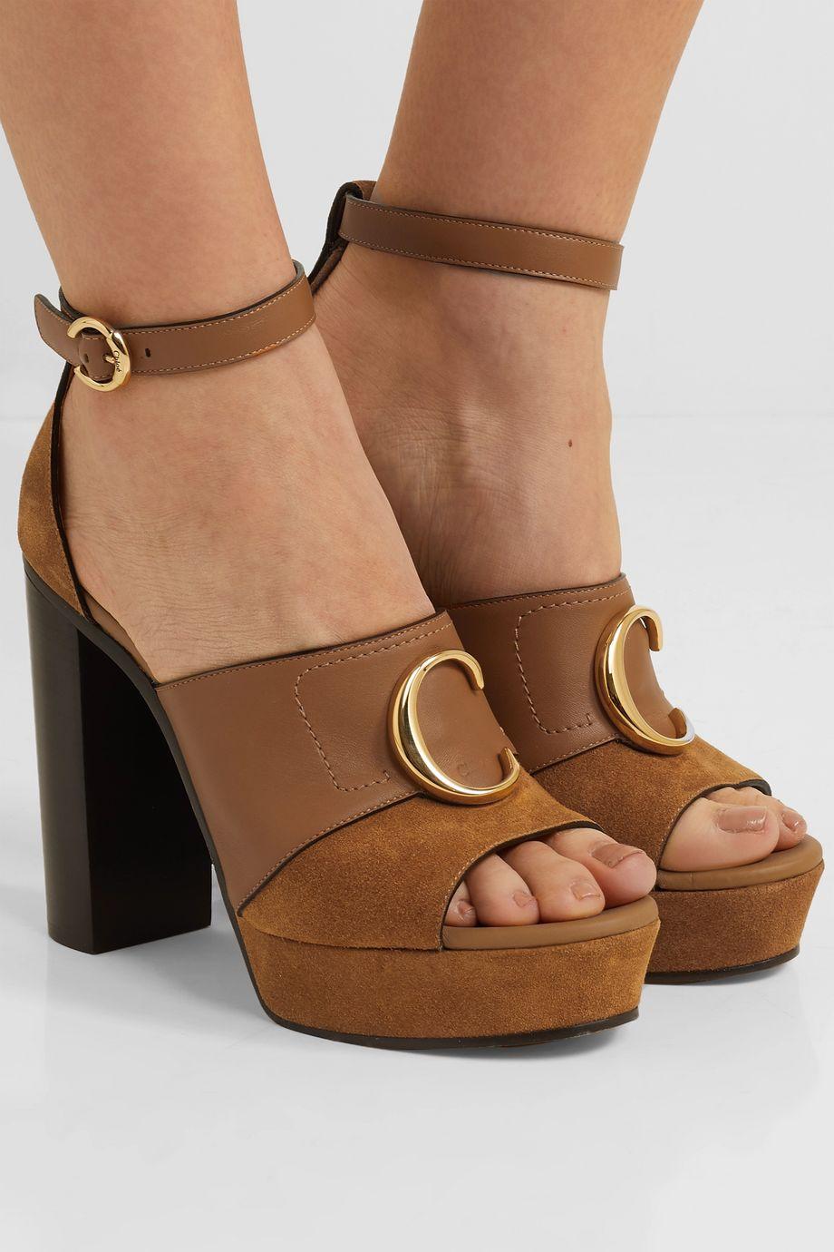 Chloé Chloé C logo-embellished leather and suede platform sandals