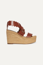Lauren scalloped leather espadrille wedge sandals