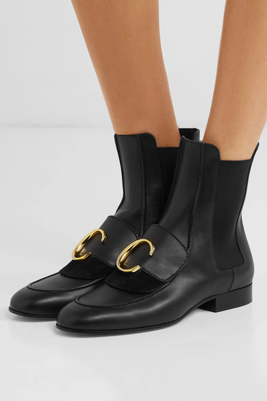 46442b5abe Chloé | Chloé C logo-embellished leather and suede ankle boots | NET ...