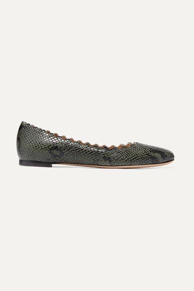 Chloé Shoes Lauren scalloped snake-effect leather ballet flats