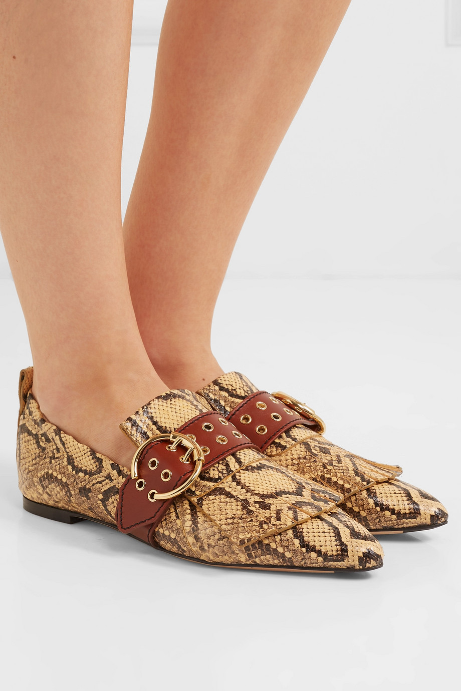 Chloé Snake-effect leather loafers