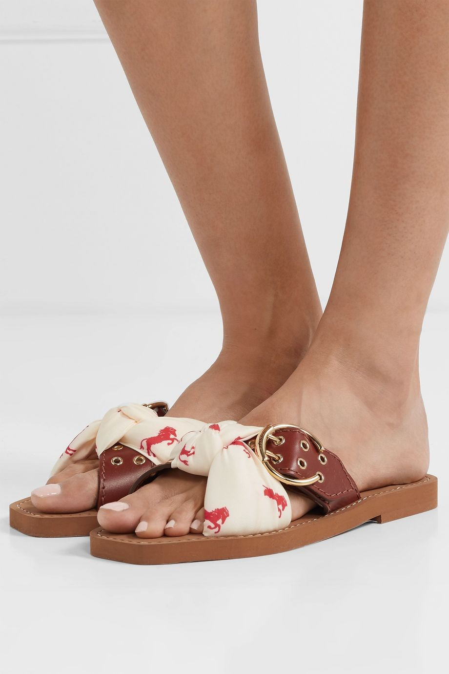 Chloé Woody leather and printed satin-twill slides
